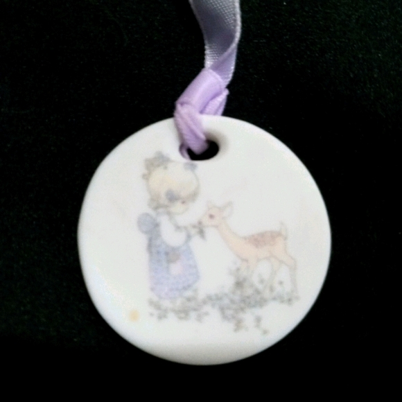 Precious moments porcelain bookmark girl with deer